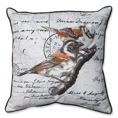 Pillow Perfect Correspondance Embroidered Birds 16.5-inch Corded Throw Pillow