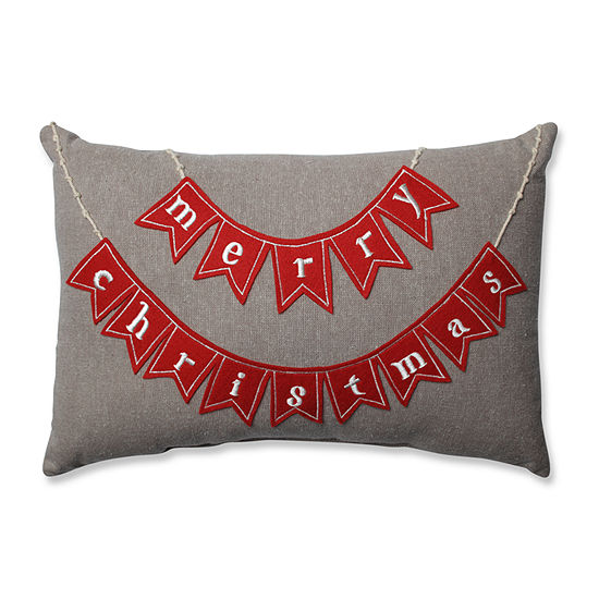 Pillow Perfect Country Home Merry Christmas Red/Biscuit Rectangular Throw Pillow