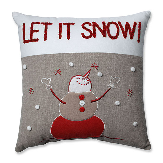 Pillow Perfect Country Home Snowman Red/Biscuit 15.5-inch Throw Pillow