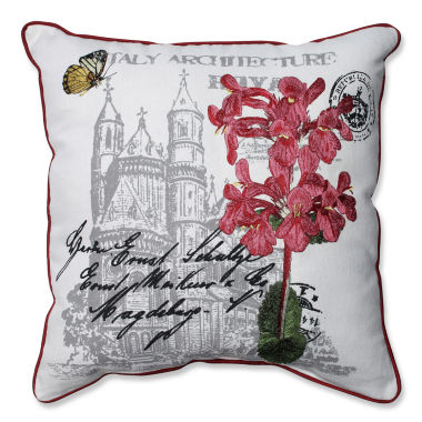 Pillow Perfect Embroidered Flowers and Castle Print 18-inch Corded Throw Pillow