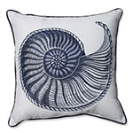 Pillow Perfect Embroidered Sanibel Shell Square Throw Pillow