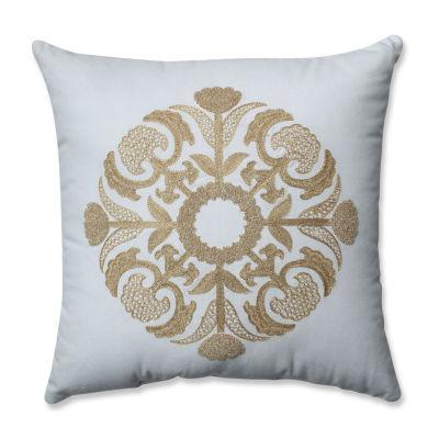 Pillow Perfect Glamour Medallion Gold-White 17.5-inch Throw Pillow