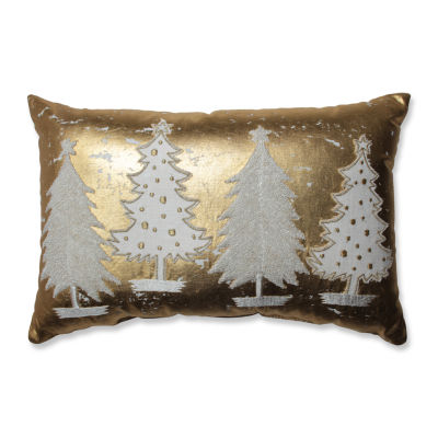 Pillow Perfect Glamour Multi Trees Gold-White Rectangular Throw Pillow