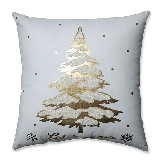 Pillow Perfect Glamour Single Tree Gold-White 17.5-inch Throw Pillow