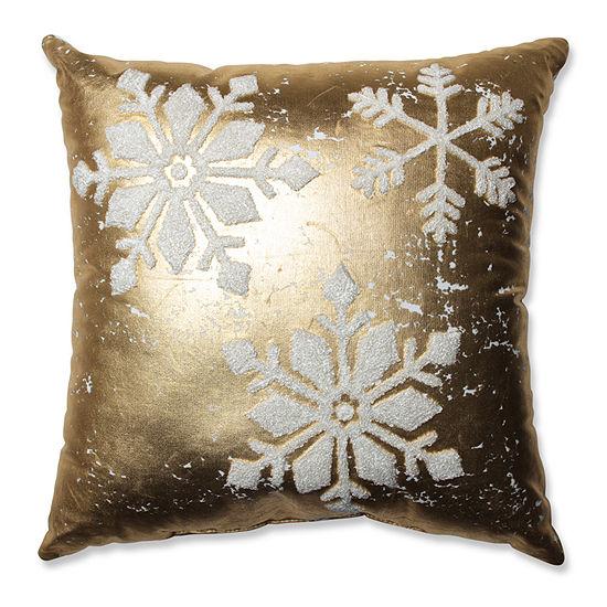 Pillow Perfect Glamour Snowflakes Gold-White 17.5-inch Throw Pillow