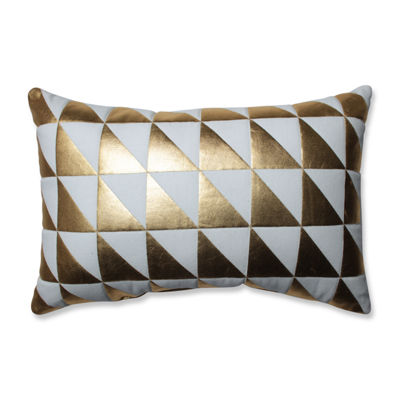 Pillow Perfect Glamour Triangle Gold-White Rectangular Throw Pillow