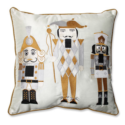 Pillow Perfect Holiday Embroidered Nutcrackers 16.5-inch Throw Pillow