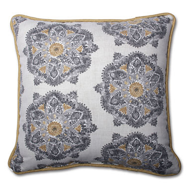 Jcpenney Gold Decorative Pillows : Pillow Perfect Suri Medallion Greystone Pillow - JCPenney