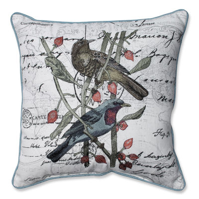 Pillow Perfect Adresse Embroidered Birds 16.5-inchCorded Throw Pillow