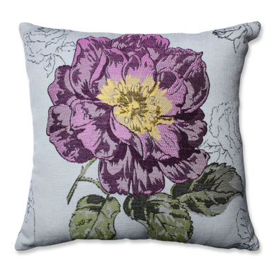Pillow Perfect Purple Jacquard Flower 16.5-inch Throw Pillow