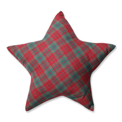 Pillow Perfect Red/ Green Plaid Star Pillow