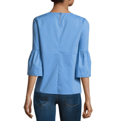 a.n.a Long Sleeve Mock Neck Woven Blouse