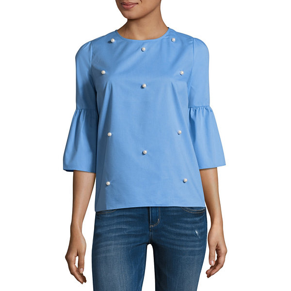 a.n.a 3/4 Sleeve Round Neck Woven Blouse