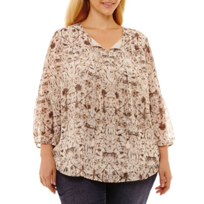St. John's Bay Tie Front Peasant Blouse-Plus