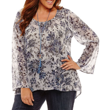 Unity World Wear Long Sleeve Scoop Neck Woven Floral Blouse - Plus