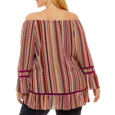3/4 Sleeve Off the Shoulder Blouse-Plus