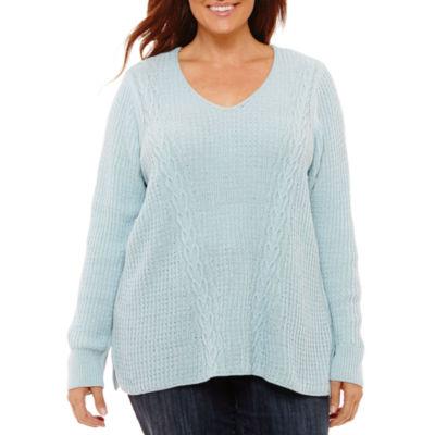 St. John's Bay Long Sleeve V-Neck Sweater - Plus