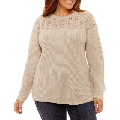 St. John's Bay Long Sleeve Crew Neck Sweater-Plus