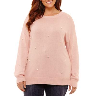 St. John's Bay Long Sleeve Beaded Pearl Sweater-Plus