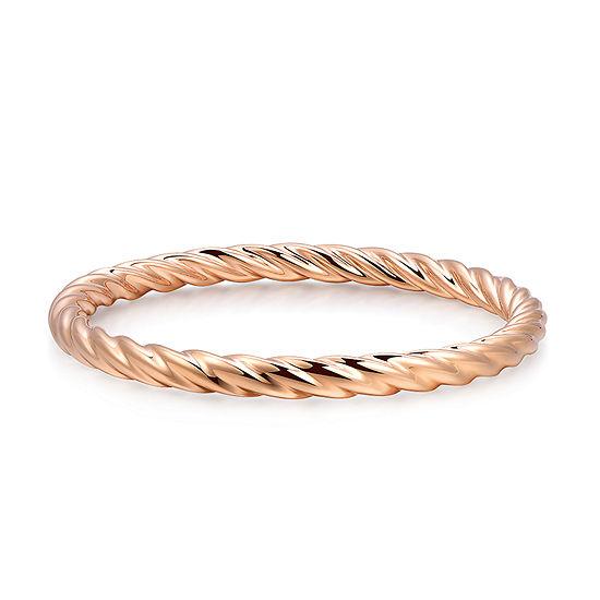 14K Rose Gold Over Silver Bangle Bracelet