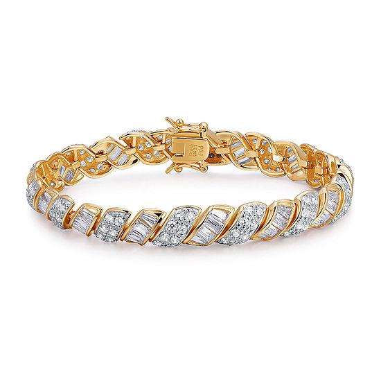 "18K Gold Over Sterling Silver Cubic Zirconia  7-8""Bracelet"