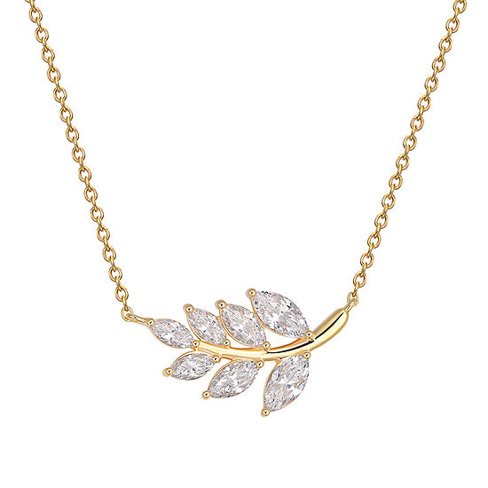 """18K Gold Over Sterling Silver Marquise Cubic Zirconia Leaf 18"""" Necklace"""