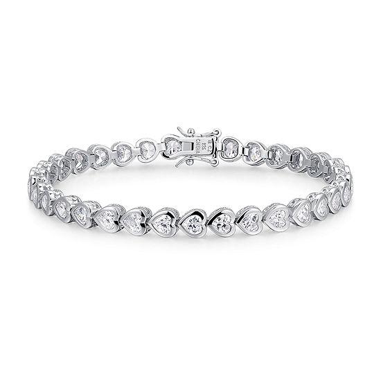 Cubic Zirconia Platinum Over Silver Heart 8 Inch Tennis Bracelet
