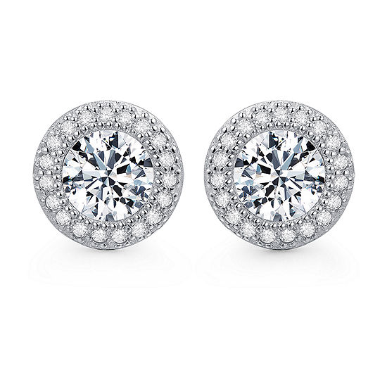 2 Ct. T.W. Cubic Zirconia Platinum Over Silver 8.6mm Round Stud Earrings
