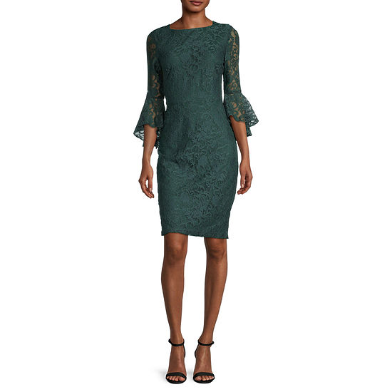 Danny & Nicole 3/4 Bell Sleeve Floral Lace Sheath Dress