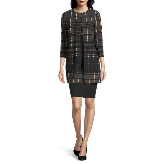 Danny & Nicole 3/4 Sleeve Jacket Dress with Coordinating Face Mask