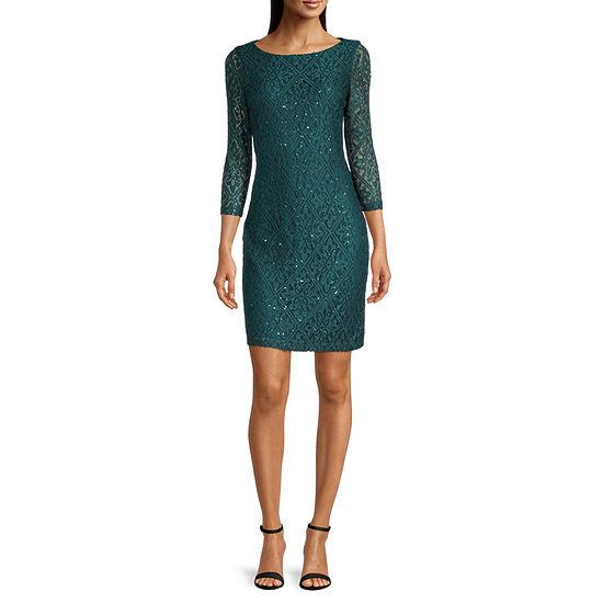 Jessica Howard ¾ Sleeve Lace Shift Dress