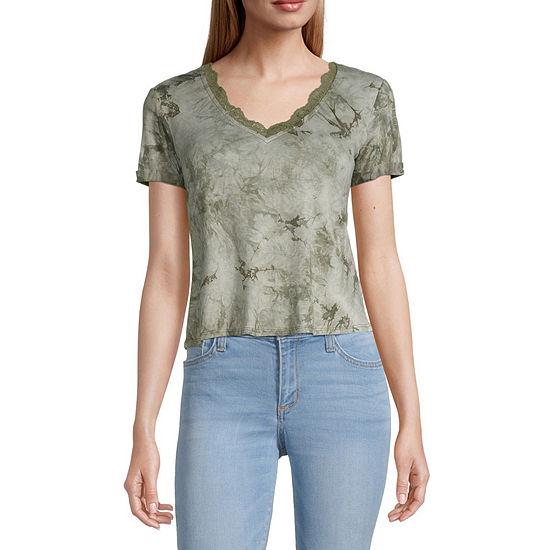 Self Esteem Juniors-Womens V Neck Short Sleeve Tie-dye T-Shirt