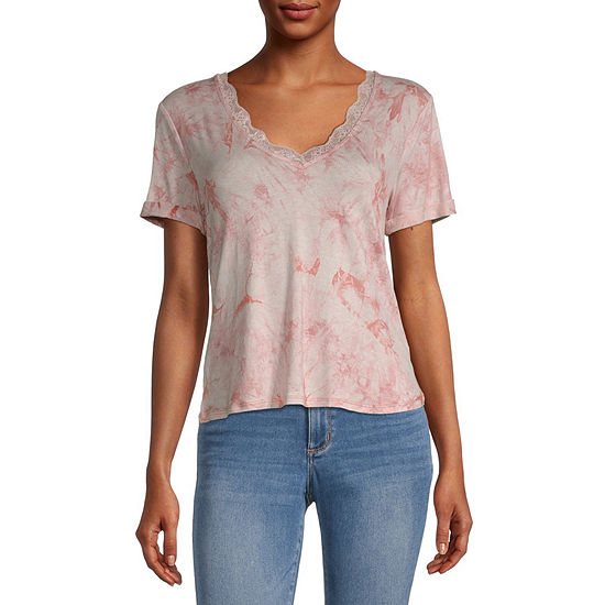 Self Esteem Juniors Womens V Neck Short Sleeve Tie-dye T-Shirt