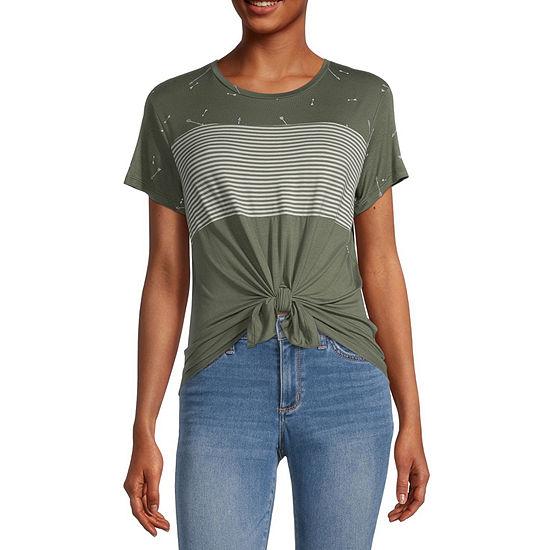 Self Esteem Juniors-Womens Round Neck Short Sleeve T-Shirt