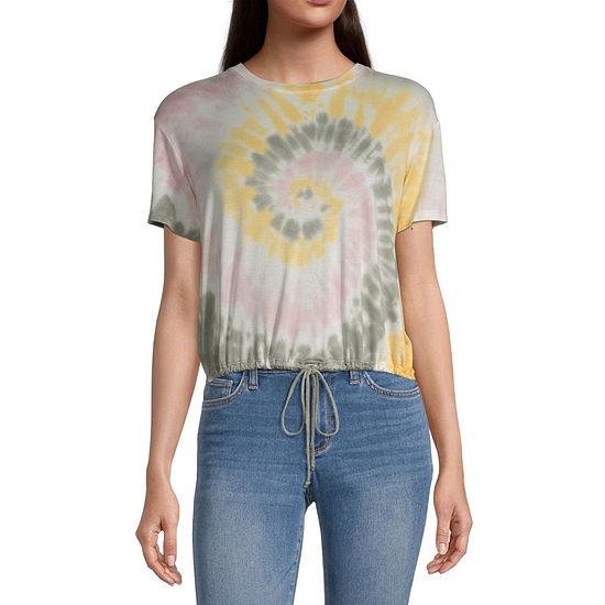 Self Esteem Juniors-Womens Crew Neck Short Sleeve Tie-dye T-Shirt