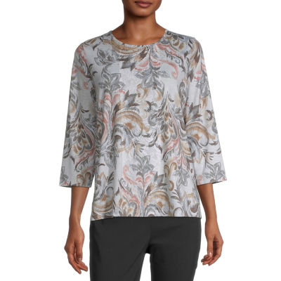 Alfred Dunner Fall Classics Womens Round Neck 3/4 Sleeve T-Shirt