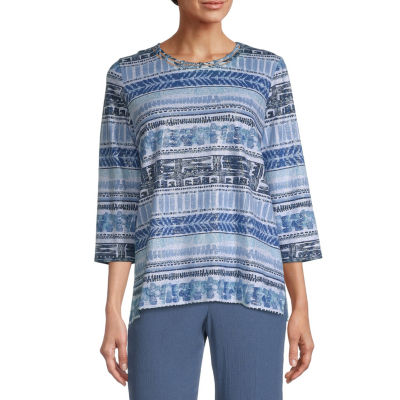 Alfred Dunner Fall Classics Tee Womens Round Neck 3/4 Sleeve T-Shirt