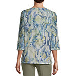 Alfred Dunner Palo Alto Womens Keyhole Neck 3/4 Sleeve T-Shirt