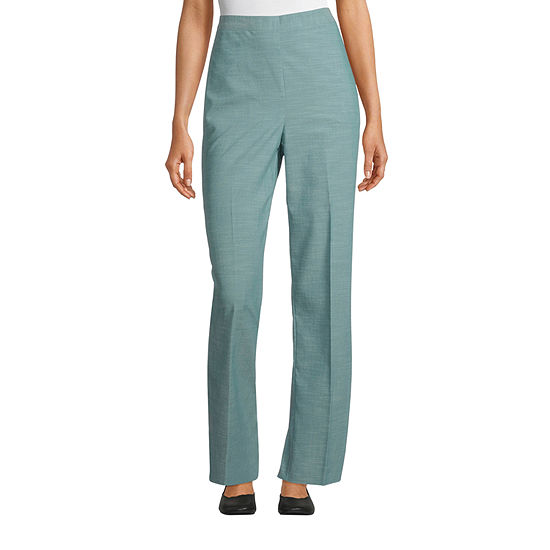 Alfred Dunner Womens Straight Flat Front Pant