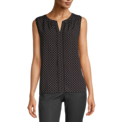 Liz Claiborne Womens Split Crew Neck Sleeveless Blouse