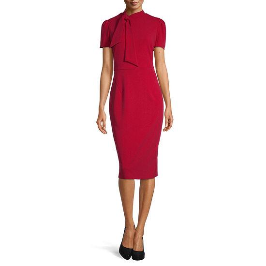 Liz Claiborne Short Sleeve Midi Sheath Dress