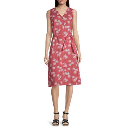 Liz Claiborne Sleeveless Floral A-Line Dress, Medium , Red