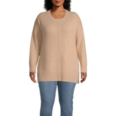 a.n.a-Plus Womens Round Neck Long Sleeve Pullover Sweater