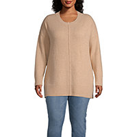 a.n.a Plus Womens Round Neck Long Sleeve Pullover Sweater