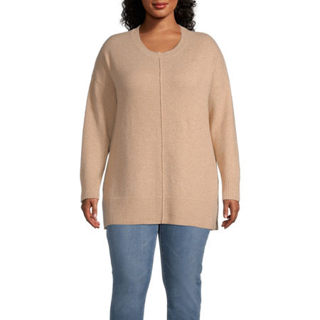 a.n.a-Plus Womens Round Neck Long Sleeve Pullover Sweater, 0x , Brown
