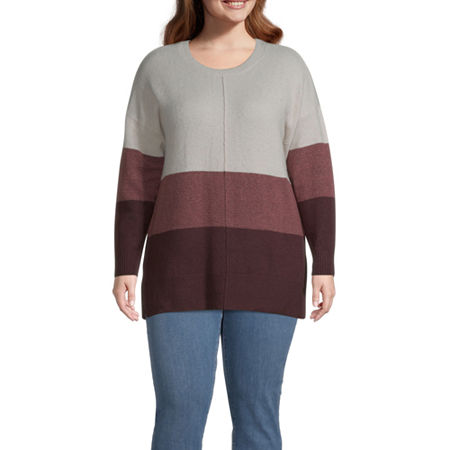 a.n.a-Plus Womens Round Neck Long Sleeve Pullover Sweater, 0x , Red