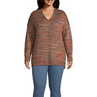 a.n.a Plus Womens V Neck Long Sleeve Pullover Sweater