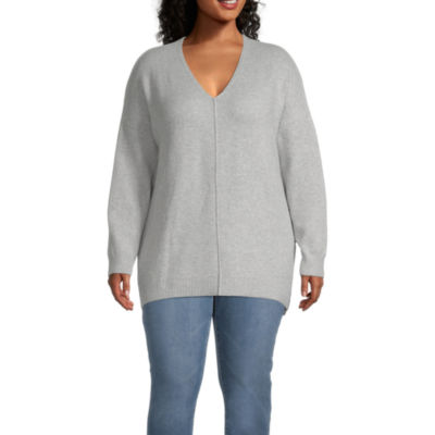 a.n.a-Plus Womens V Neck Long Sleeve Pullover Sweater