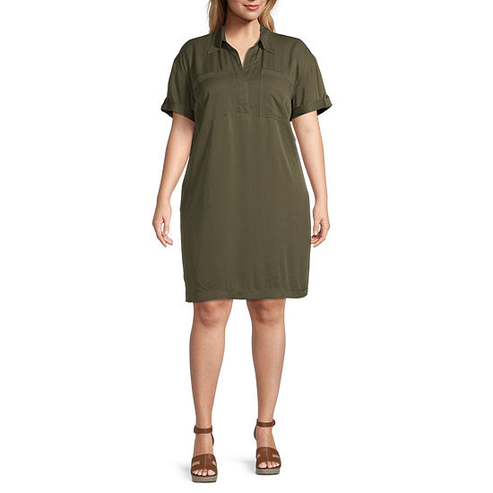 a.n.a.-Plus Short Sleeve Shirt Dress