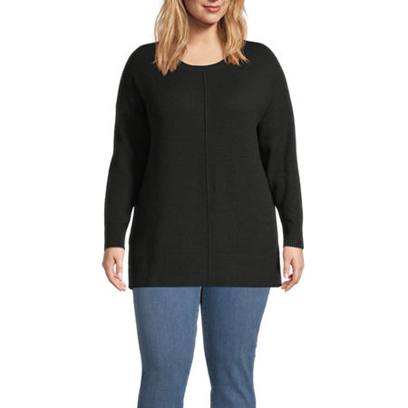 a.n.a-Plus Womens Round Neck Long Sleeve Pullover Sweater, 0x , Black